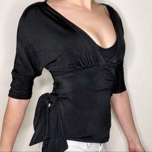Diane Von Furstenberg Black Wrap Round Top S